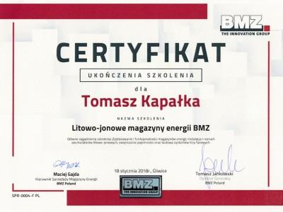 Certyfikat Targen Tomasz Kapałka BMZ