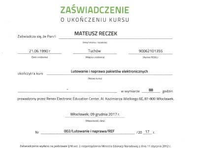 Certyfikat Targen Mateusz Reczek Renex EEC