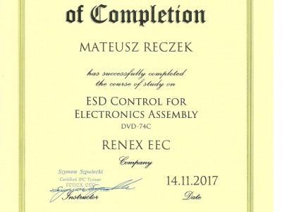 Certyfikat Targen - Mateusz Reczek IPC
