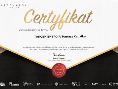 Certyfikat Targen Energia Tomasz Kapałka