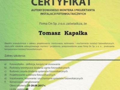 Certyfikat Targen Tomasz Kapałka ON